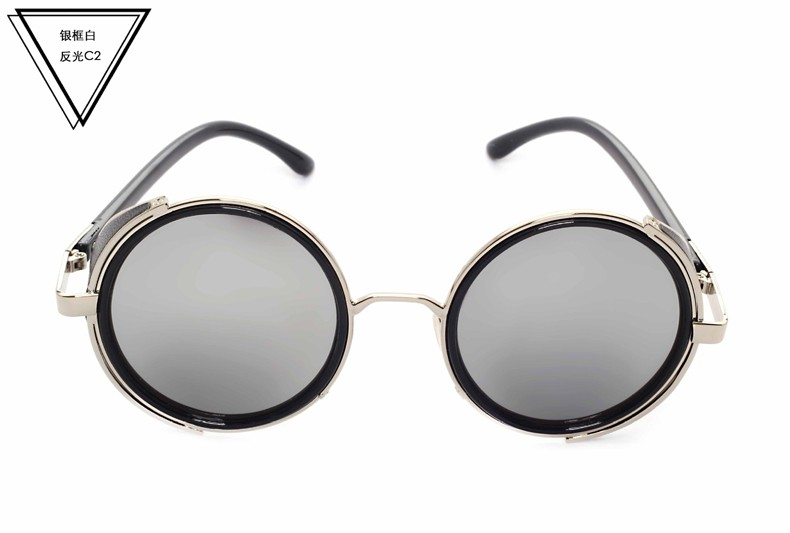 New Vintage Steampunk Designer Sunglasses Side Visor Circle Lens Round Sun glasses Women Men Retro Glasses Oculos Goggles CC5044