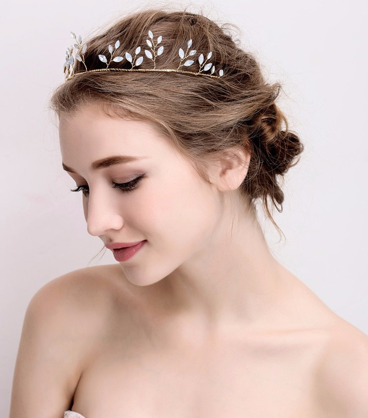 Opal Stones Wedding Bridal Tiara Girls Party Queen Tiaras and Crowns