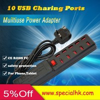 10 Port USB 2.0 Black Hub High Speed Adapter for Laptop / PC with ON/OFF Switch