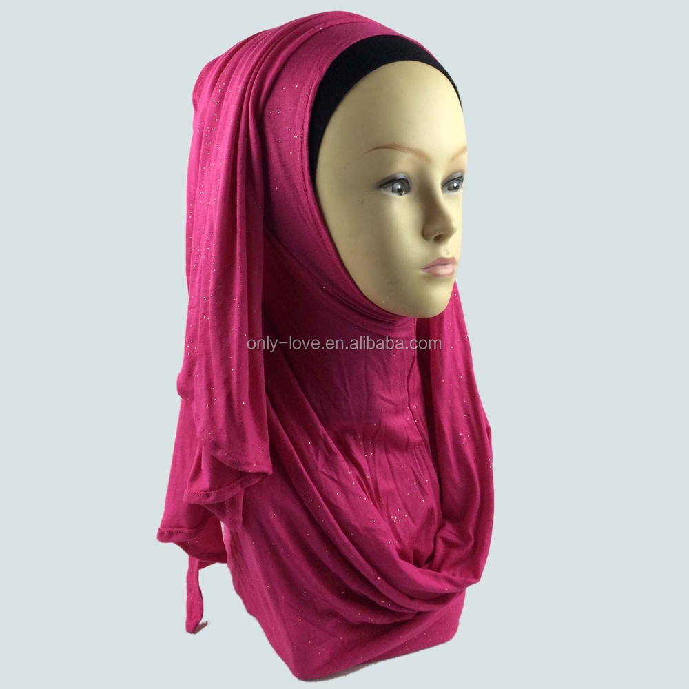 New Muslim Glitter Jersey Instant Shawls Shimmer Hijab Shinny Amira Scarf Solid Multi Color Big Size JLS124