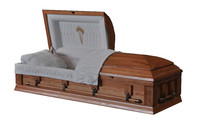 Walnut wooden casket and coffin with velvet interior