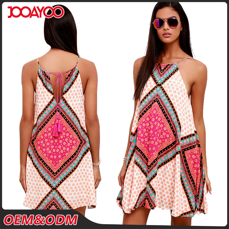 Spring Summer Newly Casual Sleeveless Mini Woman Dress Strap Neck Print New Style Fashion Dress