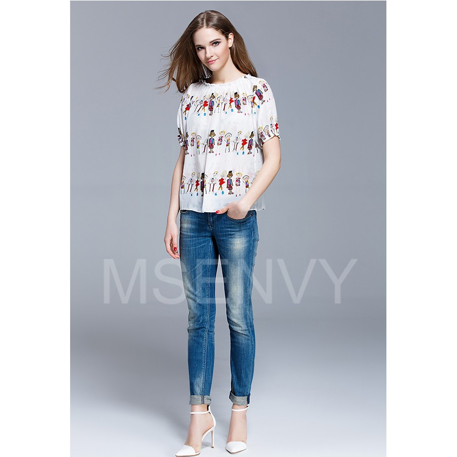 Summer Women Floral Digital Printed Silk crepe de chine Top