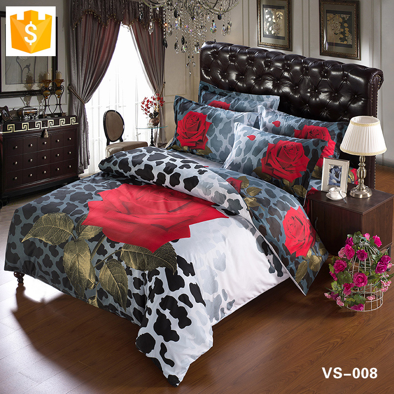 Wholesale bedding set Bed linen red rose and Giraffe 100% cotton floral sheet set