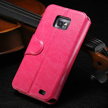 Crazy Horse Leather wallet case for samsung galaxy s2, cover for samsung i9100, phone case for samsung galaxy s2 i9100