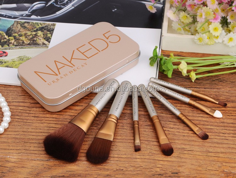 OUNA 7pcs naked brand professional wood handle synthetic naked 5 makeup brush set with metal