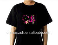 Blinking 100% cotton China LED T-shirt for party wear