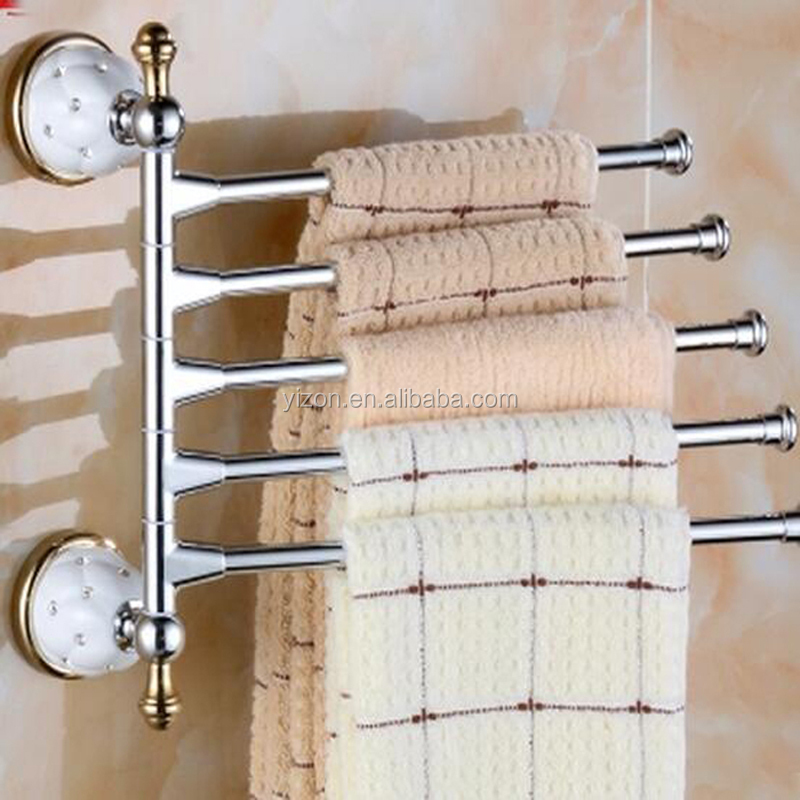 Wholesale And Retail Luxury Ceramic Inlaid Crystal Solid Brass Towel Rack Holder 5 Swivel Wall Mounted Towel Bars