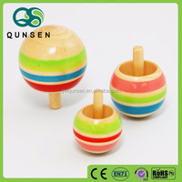 Kids wooden toy spinning top