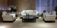 Classic Italian luxury living room chesterfield white leather sofa