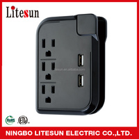 UL ETL Yuyao 3 outlet power strip with 2 USB port new products surge protector electric moters pop up socket usb power strip