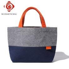 China Manufacture Personalized Felt Tote Bag With Orange Handle