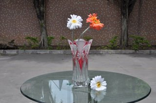 glass vase with decal