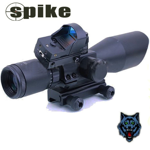 Spike 2.5-10X40 Rifle Scope with Laser and Red Dot Sight, Tactical Riflescopes fot Hunting