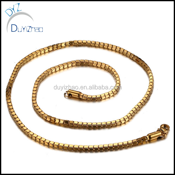 hip hop gold plated stainless steel box chain