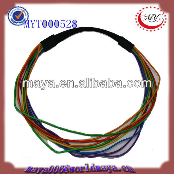 the colorful ropes with black elastic headband wrap hair band