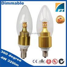 E12 E14 E27 warm white clear led candle bulb with 3 years warranty