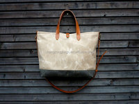 waxed canvas carry all bag canvas tote bag with leather handles