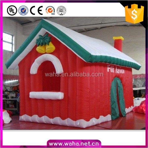 hot sale large inflatable christmas santa house with led light