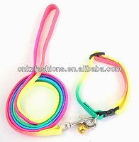Pet Puppy Multicolor Nylon Dog Pet Leads and collar Pet dog collar with bell