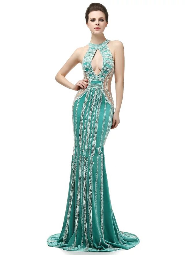 New Style Fashion and Sexy Sheath Halter Stretch Mesh with Crystal Beading formal evening &prom dress ED614