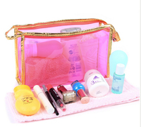 Toiletry Travel kits gold trim PVC custom cosmetic bag