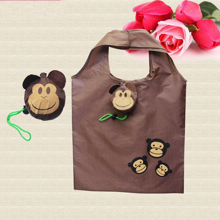 Monkey Shape Eco Friendly Polyester Reusable Lovely Foldable Shopping Bags