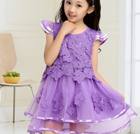 2015 korea style Latest Net purple Girls sleevesless Dress Hollow Lace Flower Kids Dress