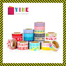 Different patterns washi tape customized colors adhesive paper tape 1.5cm*10m