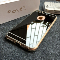 Electroplating ultra-thin shell soft tpu mirror phone case for iphone 6 cell phone case with mirror back