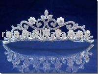 Silver Bridal Pearl Tiara Wedding Crystal Metal Alloy Hair Ornament Band Jewelry