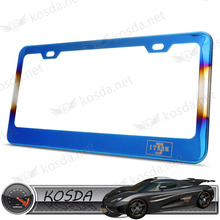 USA Size Stainless Steel Titanium Blue Car License Plate Frame USA Market