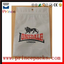Clear customed clothes plastic zip lock packaging bag,bag for clothing store