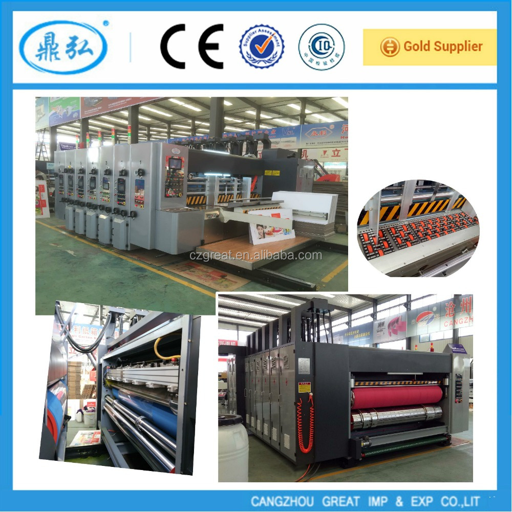 corrugated board flexo print slot die cut machine ,automatic 5 colors printer&slotter&rotary die cutter