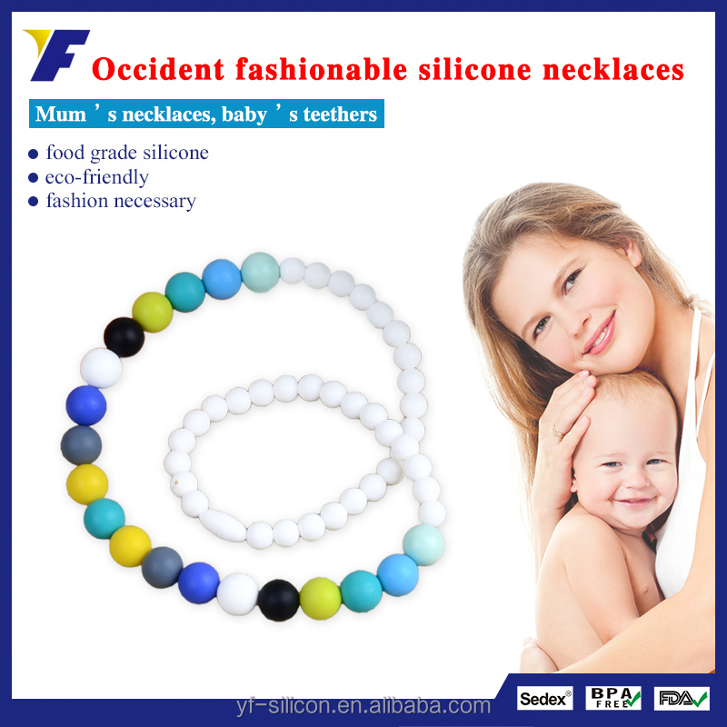 Newest Promotional Cross Rosary Bead Silicone Nursing Teething Necklace