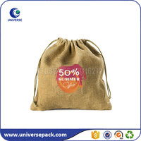 drawstring unbleached burlap pouch with custom logo