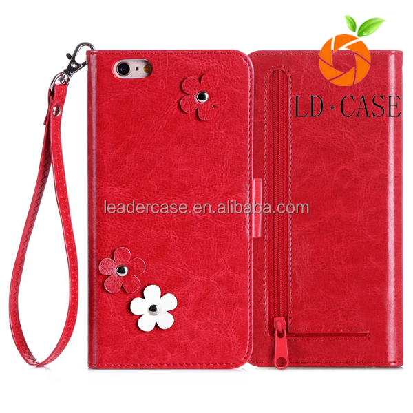 leather cell phone case with detachable strap, coin zipper Pocket and credit card phone case