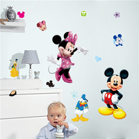 Colorcasa cartoon wall paper Mickey Mouse wall paper kid room wall decal decorative Disney Gift sticker for nursery room(1437)