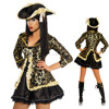 Ladies Caribbean Pirate Wench Costume Women Jacket Dress Eye Patch BWG3066
