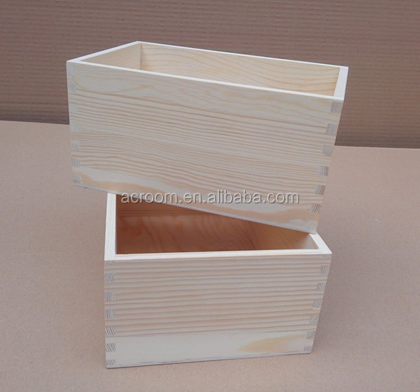 New Products simple design customize pine wood price box for storage wholesale art and craft supplies