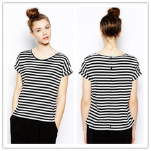 New Arrival Turn-up cuffs Button through back short sleeve Striped T-shirt