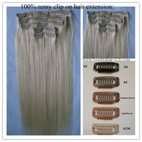 Thick Deluxe Triple Clip In Remy Human Hair Extension , Full Head Double Wefted In Blonde Color