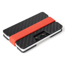Slim Minimalist Silicon Elastic Band RFID Carbon Fiber Sheet Plate Card Holder Wallet Carbon Fiber Money Clip