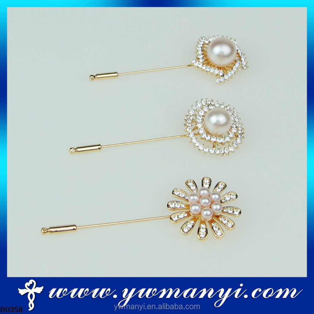 Bling and shining rhinestone pearls long hijab pins for lady