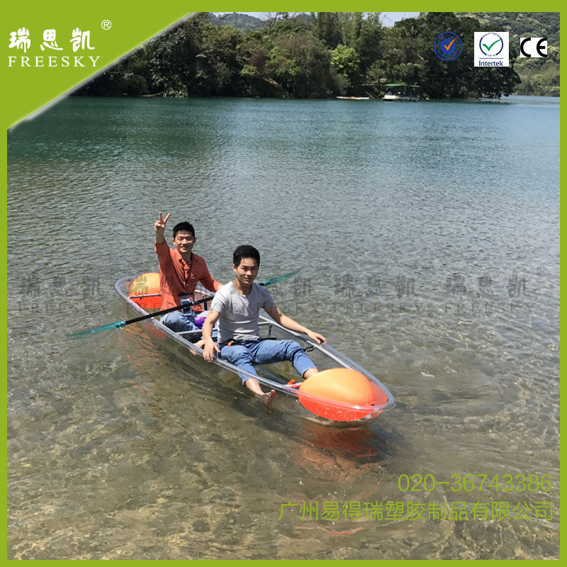 chinese cheap wholesale transparent clear plastic fishing transparent kayak for two person