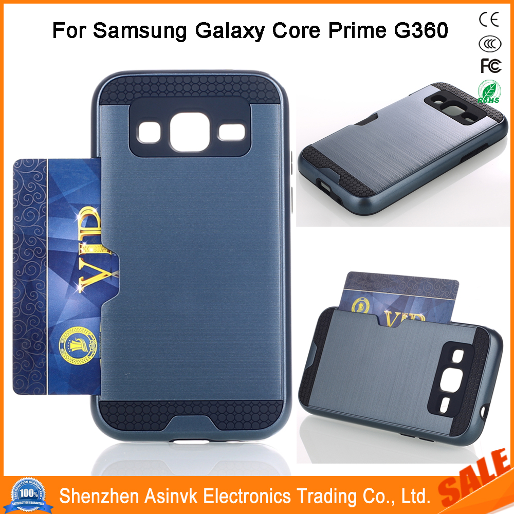 Shockproof Card Slot Dual Layer Armor Hybrid Protective Case For Samsung Galaxy Core Prime G360