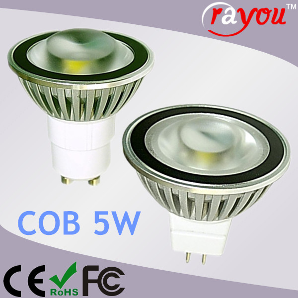 Dimmable gu5.3 mr16 spot light fixture, warm white led spotlight cob, led mr16 5w cob for 35w halogen replace