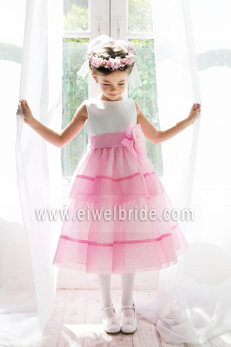 Cute Jewel Neck Flower Appliques Tea Length A Line Party Dresses For Girls Of 5 Years Old Flower Girl Dress d43