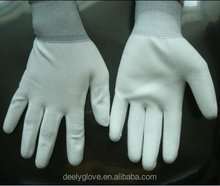 Polyester Knit Glove Palm Fit White PU Gloves Coated Safety Work Glove