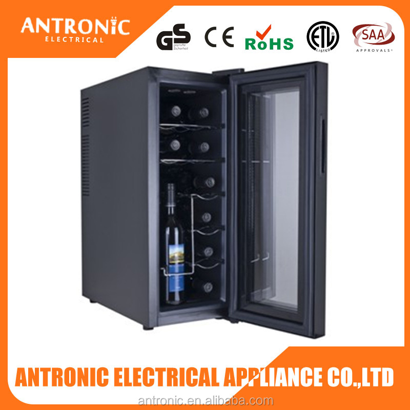 2016 HOT ATC-35L ETL/CE/ROHS tempered glass door 35L LED wine cooler 12 bottles wine chiller vertical bottle display cooler